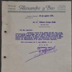 Cartas comerciales: ALEIXANDRE Y BAS. FÁBRICA DE CALZADO. VALENCIA. ESPAÑA 1931. Lote 269168023