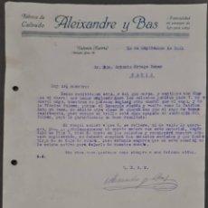 Cartas comerciales: ALEIXANDRE Y BAS. FÁBRICA DE CALZADO. VALENCIA. ESPAÑA 1921. Lote 269168078