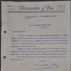 Cartas comerciales: ALEIXANDRE Y BAS. FÁBRICA DE CALZADO. VALENCIA. ESPAÑA 1921. Lote 269168183