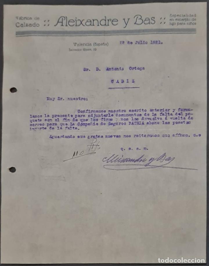 ALEIXANDRE Y BAS. FÁBRICA DE CALZADO. VALENCIA. ESPAÑA 1921 (Coleccionismo - Documentos - Cartas Comerciales)