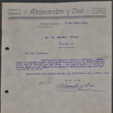 Cartas comerciales: ALEIXANDRE Y BAS. FÁBRICA DE CALZADO. VALENCIA. ESPAÑA 1921. Lote 269168248
