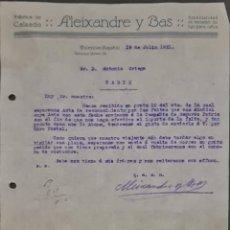Cartas comerciales: ALEIXANDRE Y BAS. FÁBRICA DE CALZADO. VALENCIA. ESPAÑA 1921. Lote 269168353