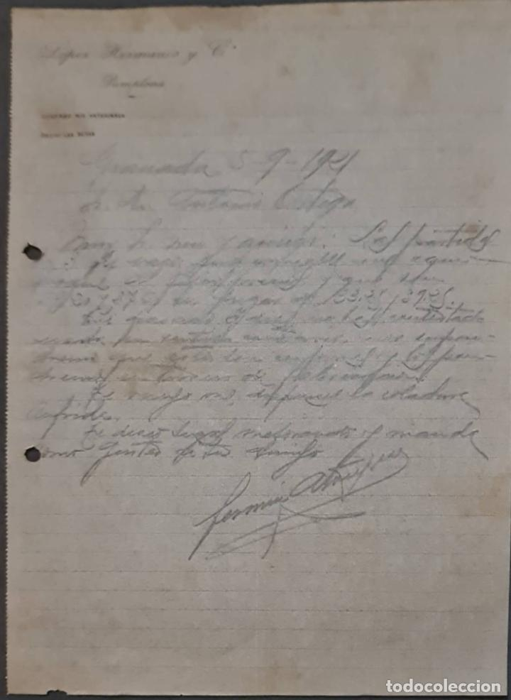 LÓPEZ HERMANOS Y COMPª. ALMACÉN DE CURTIDOS. PAMPLONA. ESPAÑA 1921 (Coleccionismo - Documentos - Cartas Comerciales)