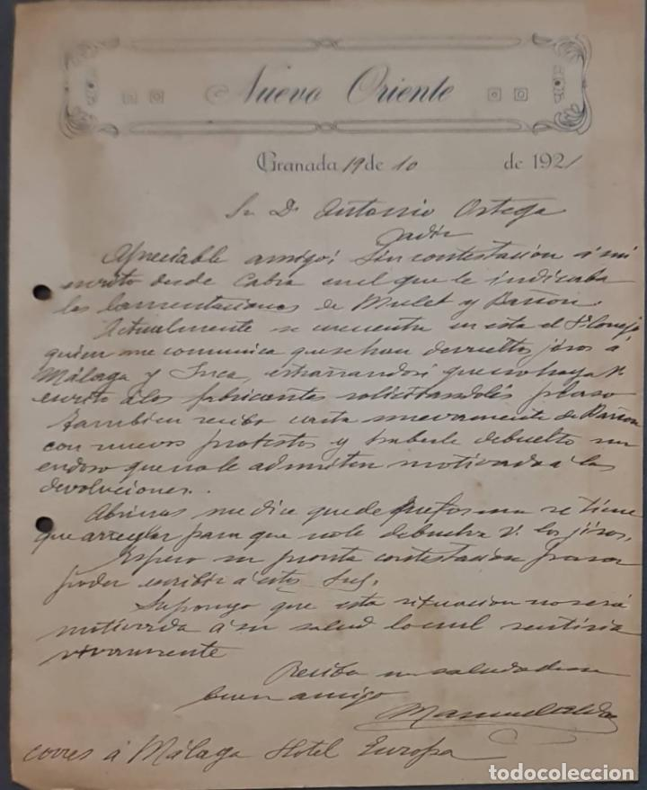 NUEVO ORIENTE. . GRANADA. ESPAÑA 1921 (Coleccionismo - Documentos - Cartas Comerciales)