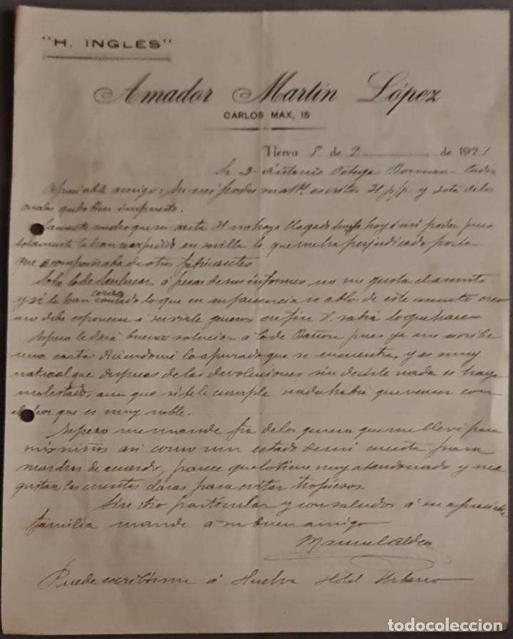 AMADOR MARTÍN LÓPEZ. H. INGLÉS. NERVA. ESPAÑA 1921 (Coleccionismo - Documentos - Cartas Comerciales)
