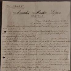 Cartas comerciais: AMADOR MARTÍN LÓPEZ. H. INGLÉS. NERVA. ESPAÑA 1921. Lote 269207298