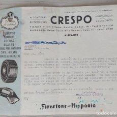 Cartas comerciales: ANTIGUA Y BONITA CARTA DE CRESPO AUTOMOVILES REPARACIONES ALICANTE - TALLER MECANICO Y TIENDA - 1948. Lote 269225413