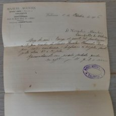 Cartas comerciales: ANTIGUA CARTA DE MANUEL AGUSTÍN - TELEGRAMA - VALENCIA DESPACHO Y ALAMCEN - AÑO 1906 - EN BUEN ESTAD. Lote 269230498