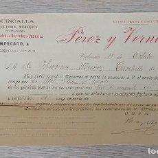 Cartas comerciales: ANTIGUA CARTA DE PÉREZ Y VERNIA - TELEGRAMA - QUINCALIA PAQUETERIA MERCERIA PASAMANERÍA ESPECIALIDAD. Lote 269230968
