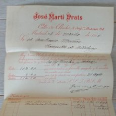 Cartas comerciales: ANTIGUA CARTA DE JOSÉ MARTI PRATS - TELEGRAMA - MADRID - AÑO 1906 - EN BUEN ESTADO -. Lote 269232048