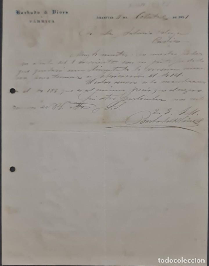 BARBADO Y VIVES. FÁBRICA. ARANJUEZ. ESPAÑA 1921 (Coleccionismo - Documentos - Cartas Comerciales)