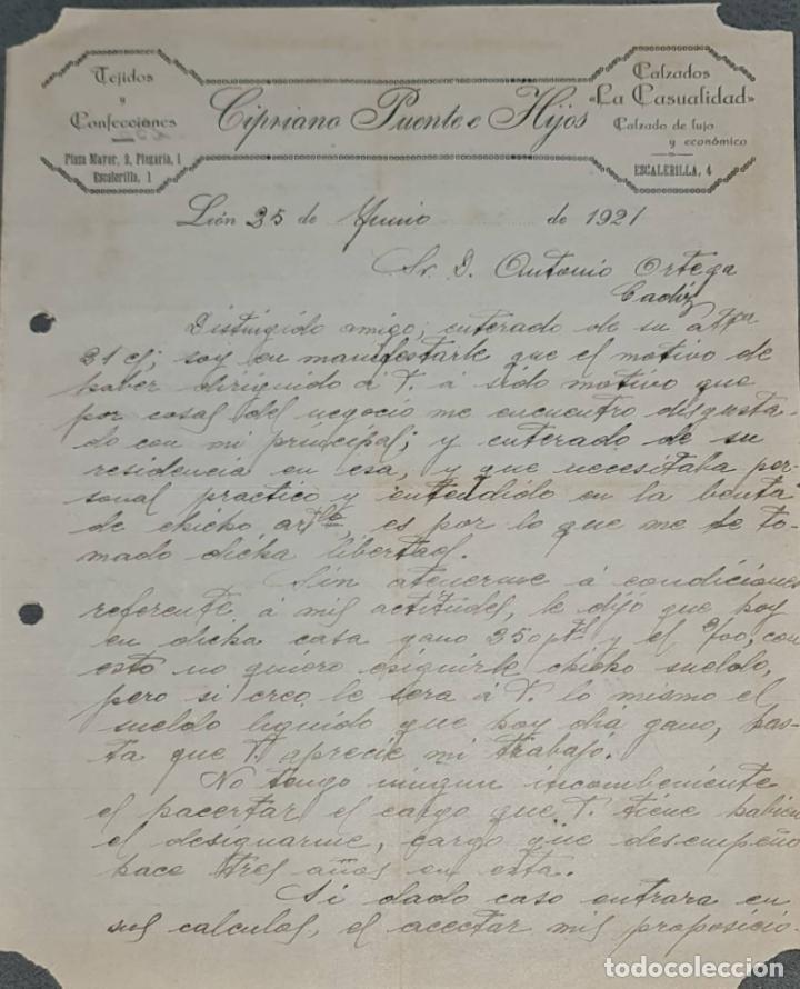 CIPRIANO PUENTE E HIJOS. TEJIDOS Y CONFECCIONES. CALZADOS LA CASUALIDAD. LEÓN. ESPAÑA 1921 (Coleccionismo - Documentos - Cartas Comerciales)