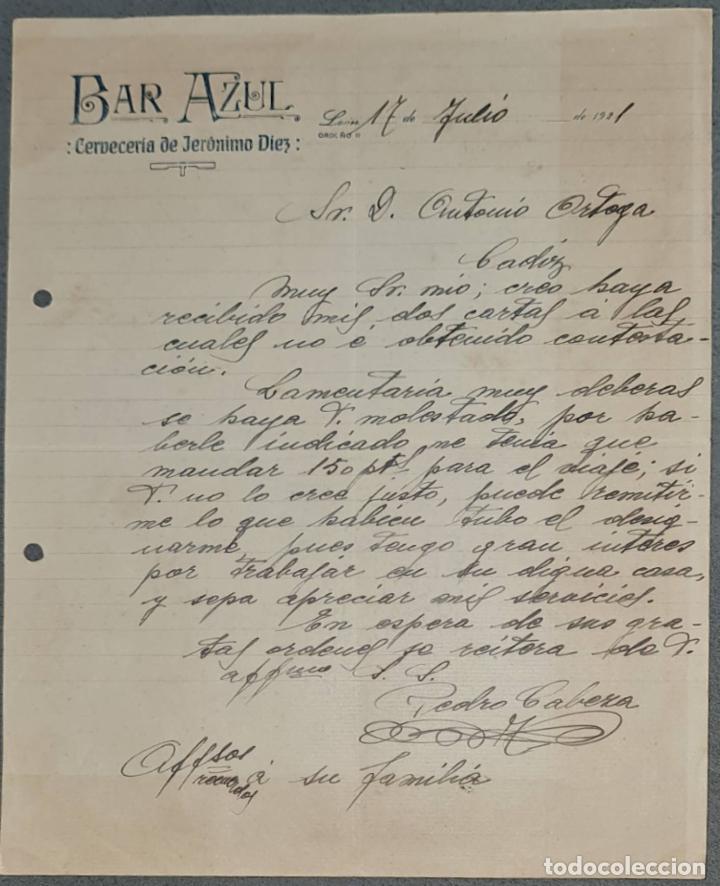 BAR AZUL. CERVECERÍA DE JERÓNIMO DIEZ. LEÓN. ESPAÑA 1921 (Coleccionismo - Documentos - Cartas Comerciales)