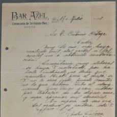 Cartas comerciais: BAR AZUL. CERVECERÍA DE JERÓNIMO DIEZ. LEÓN. ESPAÑA 1921. Lote 269323898