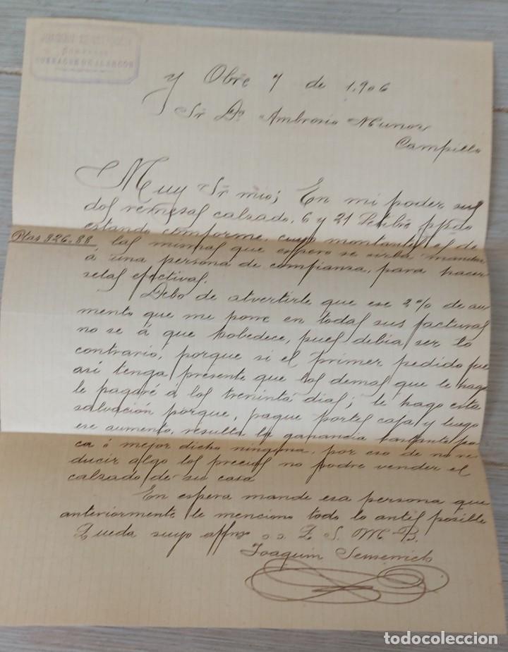 ANTIGUA CARTA COMERCIAL DE JOAQUIN SENSERRICH DE BUENACHE DE ALARCÓN - TELEGRAMA - AÑO 1906 - EN BUE (Coleccionismo - Documentos - Cartas Comerciales)