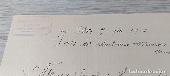 Cartas comerciales: ANTIGUA CARTA COMERCIAL DE JOAQUIN SENSERRICH DE BUENACHE DE ALARCÓN - TELEGRAMA - AÑO 1906 - EN BUE - Foto 2 - 269341273