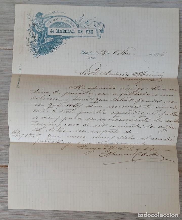 CARTA DE TEJIDOS PAQUETERIA Y COLONIALES DE MARCIAL DE FEZ - MINGLANILLA - TELEGRAMA - AÑO 1906 (Coleccionismo - Documentos - Cartas Comerciales)