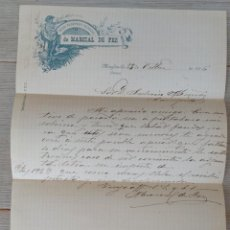 Cartas comerciales: CARTA DE TEJIDOS PAQUETERIA Y COLONIALES DE MARCIAL DE FEZ - MINGLANILLA - TELEGRAMA - AÑO 1906. Lote 269342778