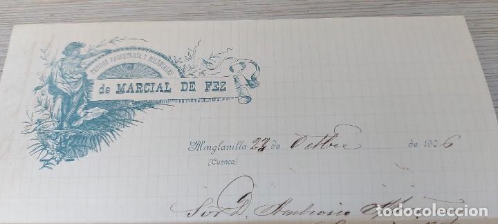 Cartas comerciales: CARTA DE TEJIDOS PAQUETERIA Y COLONIALES DE MARCIAL DE FEZ - MINGLANILLA - TELEGRAMA - AÑO 1906 - Foto 2 - 269342778