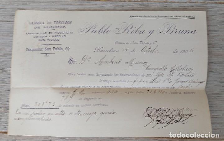 ANTIGUA CARTA COMERCIAL DE PABLO RIBA Y BRUNA EN BARCELONA - FABRICA DE TORCIDOS DE ALGODON ESPECIAL (Coleccionismo - Documentos - Cartas Comerciales)