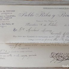 Cartas comerciales: ANTIGUA CARTA COMERCIAL DE PABLO RIBA Y BRUNA EN BARCELONA - FABRICA DE TORCIDOS DE ALGODON ESPECIAL. Lote 269342968
