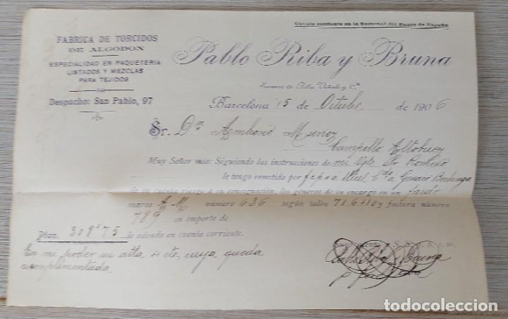 Cartas comerciales: ANTIGUA CARTA COMERCIAL DE PABLO RIBA Y BRUNA EN BARCELONA - FABRICA DE TORCIDOS DE ALGODON ESPECIAL - Foto 2 - 269342968
