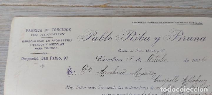 Cartas comerciales: ANTIGUA CARTA COMERCIAL DE PABLO RIBA Y BRUNA EN BARCELONA - FABRICA DE TORCIDOS DE ALGODON ESPECIAL - Foto 3 - 269342968