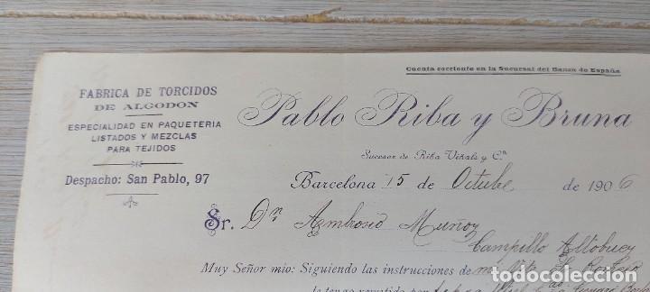 Cartas comerciales: ANTIGUA CARTA COMERCIAL DE PABLO RIBA Y BRUNA EN BARCELONA - FABRICA DE TORCIDOS DE ALGODON ESPECIAL - Foto 4 - 269342968