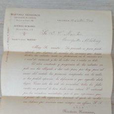 Cartas comerciales: CARTA COMERCIAL DE MARTINEZ HERMANOS FABRICANTES DE CURTIDOS DE VALENCIA - TELEGRAMA - AÑO 1906 - TA. Lote 269576538