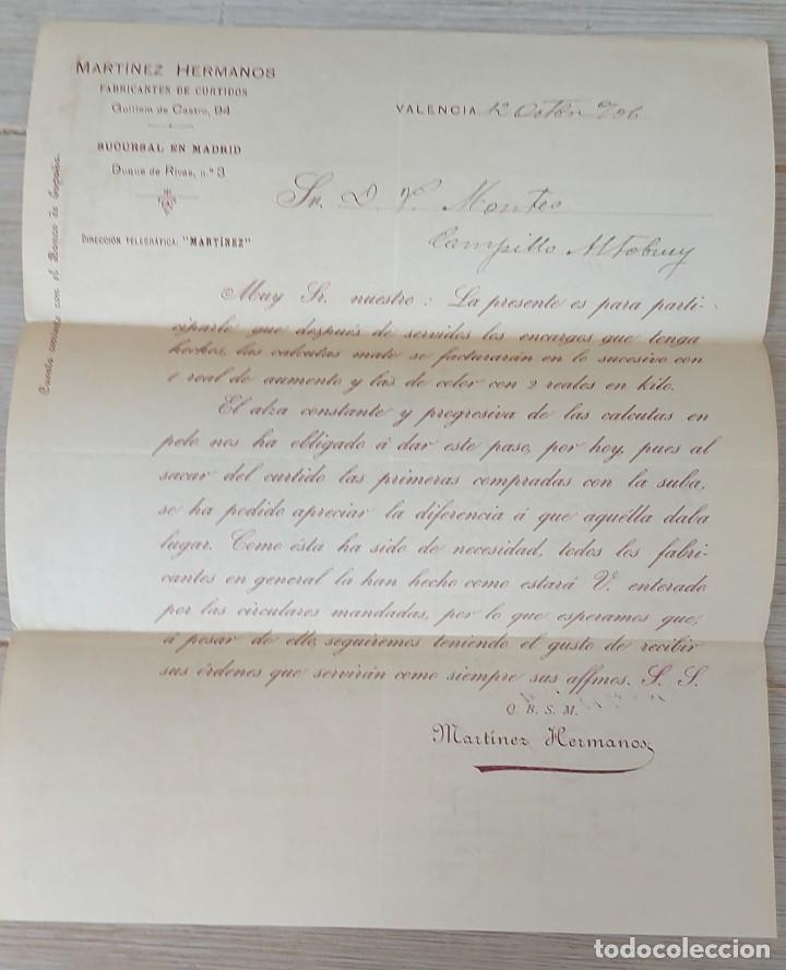 Cartas comerciales: CARTA COMERCIAL DE MARTINEZ HERMANOS FABRICANTES DE CURTIDOS DE VALENCIA - TELEGRAMA - AÑO 1906 - TA - Foto 2 - 269576538