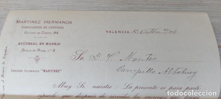 Cartas comerciales: CARTA COMERCIAL DE MARTINEZ HERMANOS FABRICANTES DE CURTIDOS DE VALENCIA - TELEGRAMA - AÑO 1906 - TA - Foto 3 - 269576538