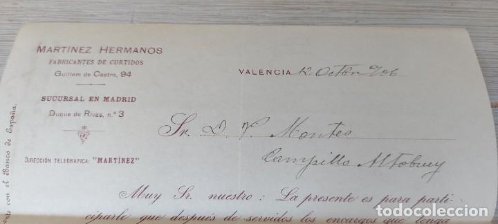 Cartas comerciales: CARTA COMERCIAL DE MARTINEZ HERMANOS FABRICANTES DE CURTIDOS DE VALENCIA - TELEGRAMA - AÑO 1906 - TA - Foto 4 - 269576538
