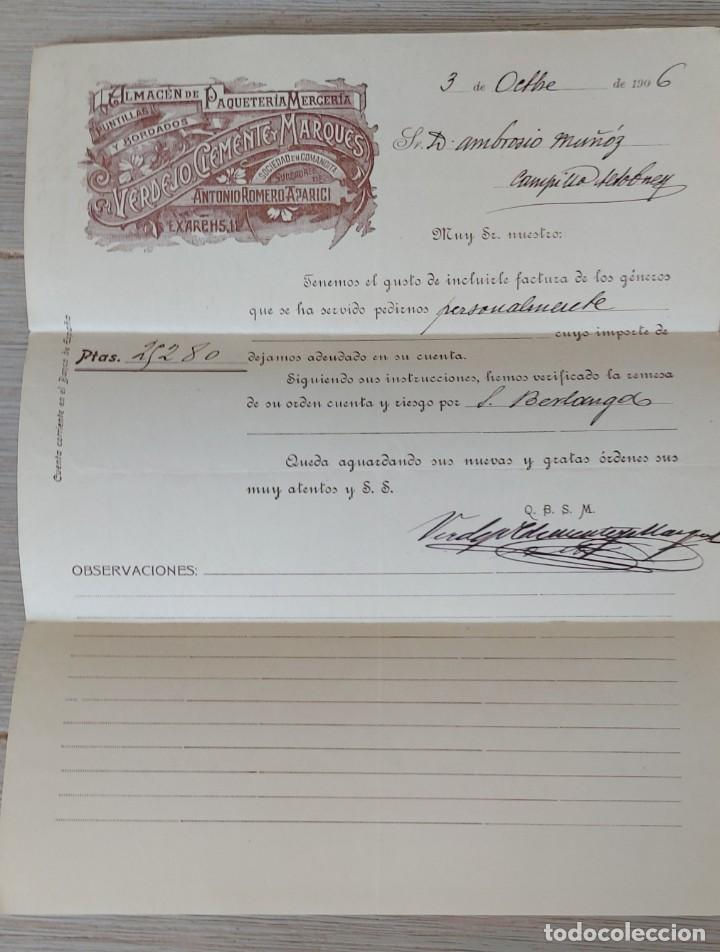 CARTA COMERCIAL DE VERDEJO CLEMENTE Y MARQUES - SOCIEDAD EN COMANDITA - SUCESORES DE ANTONIO ROMERO (Coleccionismo - Documentos - Cartas Comerciales)