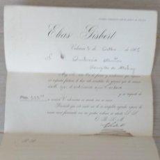Cartas comerciales: ANTIGUA CARTA COMERCIAL DE ELIAS GISBERT - VALENCIA- TELEGRAMA - AÑO 1906 - TAMAÑO ALGO INFERIOR A. Lote 269577488