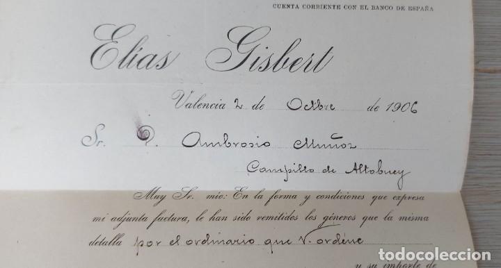 Cartas comerciales: ANTIGUA CARTA COMERCIAL DE ELIAS GISBERT - VALENCIA- TELEGRAMA - AÑO 1906 - TAMAÑO ALGO INFERIOR A - Foto 3 - 269577488