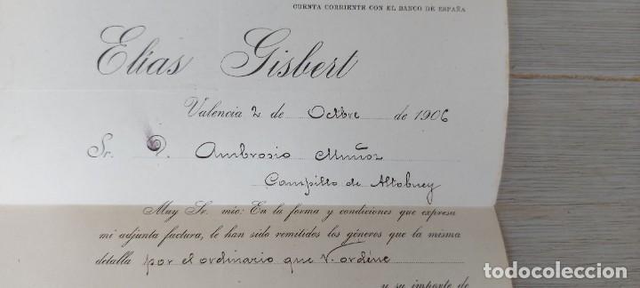 Cartas comerciales: ANTIGUA CARTA COMERCIAL DE ELIAS GISBERT - VALENCIA- TELEGRAMA - AÑO 1906 - TAMAÑO ALGO INFERIOR A - Foto 4 - 269577488