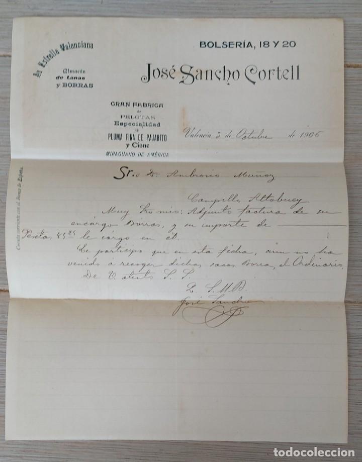 ESTRELLA VALENCIANA - ALMACEN DE LANAS Y BORRAS - JOSÉ SANCHO CORTELL - VALENCIA - GRAN FABRICA DE P (Coleccionismo - Documentos - Cartas Comerciales)