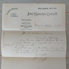 Cartas comerciales: ESTRELLA VALENCIANA - ALMACEN DE LANAS Y BORRAS - JOSÉ SANCHO CORTELL - VALENCIA - GRAN FABRICA DE P. Lote 269577883