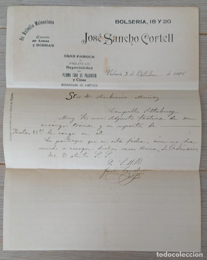 Cartas comerciales: ESTRELLA VALENCIANA - ALMACEN DE LANAS Y BORRAS - JOSÉ SANCHO CORTELL - VALENCIA - GRAN FABRICA DE P - Foto 2 - 269577883
