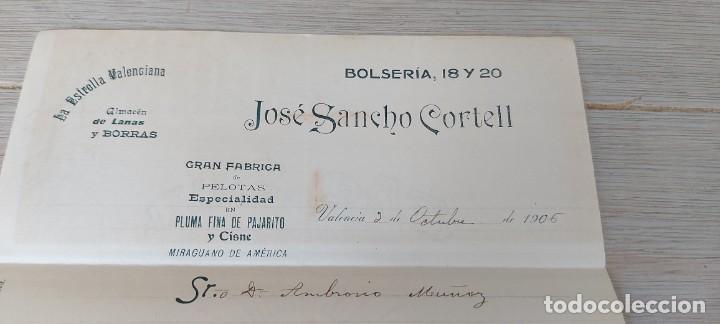 Cartas comerciales: ESTRELLA VALENCIANA - ALMACEN DE LANAS Y BORRAS - JOSÉ SANCHO CORTELL - VALENCIA - GRAN FABRICA DE P - Foto 3 - 269577883