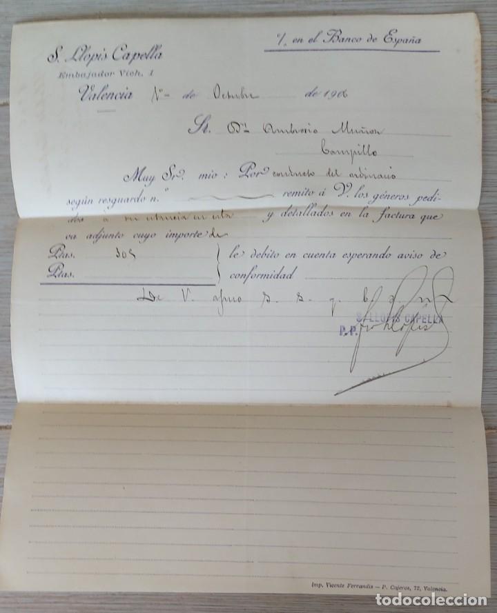 ANTIGUA CARTA COMERCIAL DE S. LLOPIS CAPELLA - TELEGRAMA - AÑO 1906 - TAMAÑO ALGO INFERIOR A A4 - EN (Coleccionismo - Documentos - Cartas Comerciales)