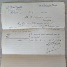Cartas comerciales: ANTIGUA CARTA COMERCIAL DE S. LLOPIS CAPELLA - TELEGRAMA - AÑO 1906 - TAMAÑO ALGO INFERIOR A A4 - EN. Lote 269578348