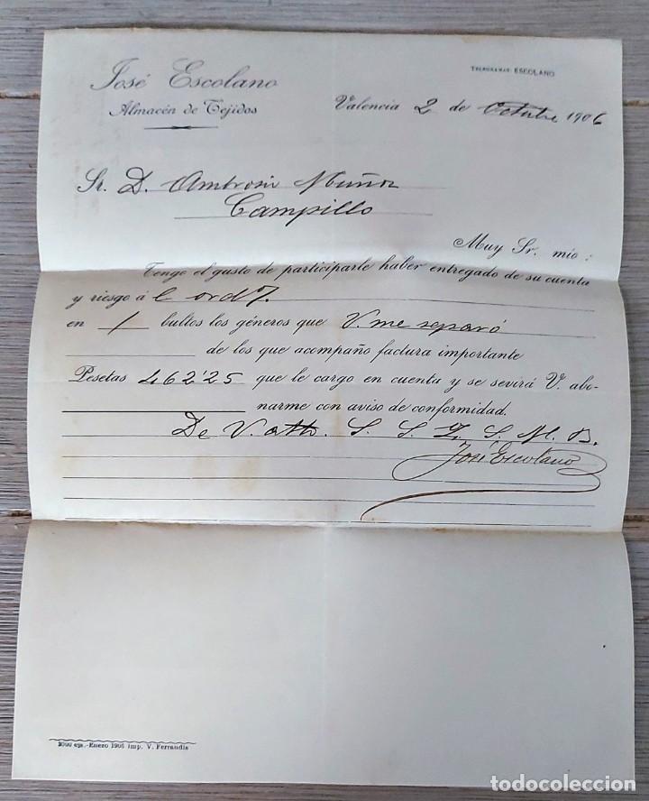 ANTIGUA CARTA COMERCIAL DE JOSÉ ESCOLANO ALMACÉN DE TEJIDOS - TELEGRAMA - AÑO 1906 - VALENCIA - TAMA (Coleccionismo - Documentos - Cartas Comerciales)