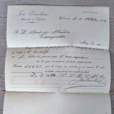 Cartas comerciales: ANTIGUA CARTA COMERCIAL DE JOSÉ ESCOLANO ALMACÉN DE TEJIDOS - TELEGRAMA - AÑO 1906 - VALENCIA - TAMA. Lote 269811063