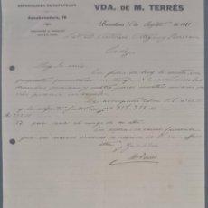 Cartas comerciales: VDA. DE M. TERRÉS. FÁBRICA DE CALZADO. ESPECIALIDAD EN ZAPATILLAS. BARCELONA. ESPAÑA 1921. Lote 270394088