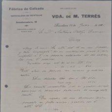 Cartas comerciales: VDA. DE M. TERRÉS. FÁBRICA DE CALZADO. ESPECIALIDAD EN ZAPATILLAS. BARCELONA. ESPAÑA 1921. Lote 270394233