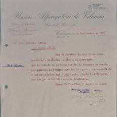 Cartas comerciales: UNIÓN ALPARGATERA DE VALENCIA. S.A. FÁBRICA DE CALZADO Y ALPARGATAS. VALENCIA. ESPAÑA 1921. Lote 270394763