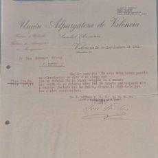 Cartas comerciales: UNIÓN ALPARGATERA DE VALENCIA. S.A. FÁBRICA DE CALZADO Y ALPARGATAS. VALENCIA. ESPAÑA 1921. Lote 270394868