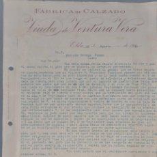 Cartas comerciales: VIUDA DE VENTURA VERA. FÁBRICA DE CALZADO. ELDA. ESPAÑA 1921. Lote 270394963