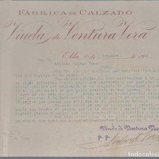 Cartas comerciales: VIUDA DE VENTURA VERA. FÁBRICA DE CALZADO. ELDA. ESPAÑA 1921. Lote 270395033
